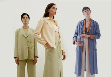 本篇以中少淑为主线棉麻风为辅线通过自然柔和色系,主要将2020春夏MOON J、Ameri、AULA等三个设计师品牌风格的款式进行分析汇总,通过风衣单品、连衣裙单品、西装单品与搭配、小衫单品与搭配、半裙单品与搭配、柔美透视等不同维度进行解析;展示自然色系下中少淑简约微解构新款式。