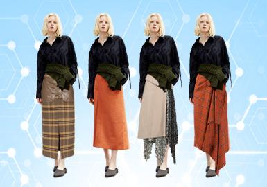 基于POP十月用户下载量TOP100女装半裙数据分析,半裙的风格以简约中淑为主,新锐设计呈上升趋势,少淑女风格占比明显下降;在面料的选取上风衣面料占比呈上升趋势而棉麻面料明显下降,半裙在格纹面料选取上保持稳定;而半裙在工艺上则以解构、拼接为主要工艺手法,明迹线虽比往年有所下降,但是在半裙数据库提取点击率前10名款式中还是深受大众喜爱的一种工艺表现形式。