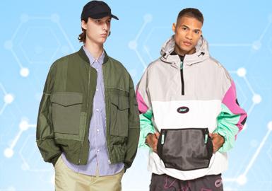 根据POP10月份用户下载量的TOP100男装夹克数据分析,运动休闲类夹克单品相比上月有小幅上升。而街头潮牌和时尚休闲类风格均有所下降,占比在4%左右。字母和格纹元素相比上月相对持平,迷彩有上升趋势。拼接工艺持续攀升,辅料织带也占有一定的市场份额。