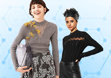 基于用户下载互动数据综合评选出女装毛衫打底衫TOP热榜,10月TOP热榜中,少淑女风格的打底衫关注度开始上升,已达到23%,简欧中淑占比过半,时尚休闲则呈现减少趋势。打底衫设计重点在细节和工艺上,撞色热度依旧;边沿装饰的占比最多,反映出打底衫的设计更加关注与外套等其他单品的搭配;针法使用强调细腻舒适,对于工艺和版型要求更考究。本篇针对10月女装毛衫打底衫的热门款式,重点从工艺、细节、纱线这三个维度展开深度剖析。