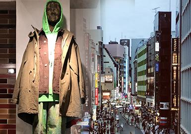 本篇報告主要是針對于2019秋冬日本零售市場進行的分析,款式資料重點來源于日本表參道、銀座、神宮前等日本知名商圈。時尚微潮、機能風、個性街潮以及新銳設計等是目前日本比較大火的設計風格,復古風潮的回歸,讓日本市場出現許多結合時尚的復古款式。拼接設計和格紋元素依然是設計中的重點,同時在細節的處理方面日本市場可謂做到極致。