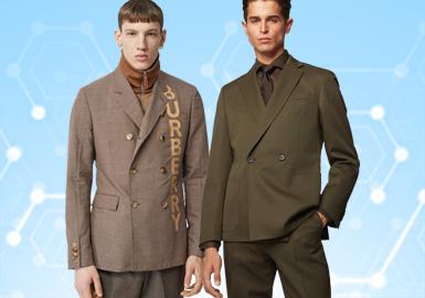 根據POP11月份用戶下載量的TOP100男裝西裝數據分析,商務休閑類西裝依舊占據市場主流地位,時尚商務類風格次于商務休閑風格。新銳設計在本月西裝單品中占據7%的市場份額,有上升趨勢。圖案類方向以格紋和條紋為主,而工藝類依舊以拼接為主。