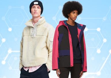 根據POP11月份用戶下載量的TOP100男裝夾克數據分析,運動休閑、時尚休閑以及商務休閑占比相較上月基本持平,而工裝風在本月以十分強勁的勢頭迅猛增長。字母和格紋圖案均有所上升,拼接工藝相比上月下降6%,繡花工藝在夾克單品中值得關注。