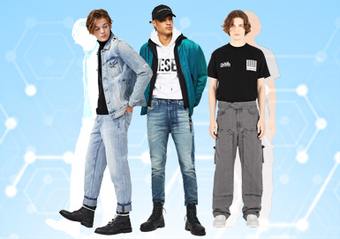 根据POP11月份用户下载量的TOP100男装牛仔裤数据分析,时尚休闲风格占比20%,街头风占比14%以及工装风占比17%;整体廓形上修身长裤占比23%最多,其次是工装裤18%,直筒裤13%以及萝卜裤8%;工艺方面拼接和贴布依旧占比不少,而磨损工艺占比5%。