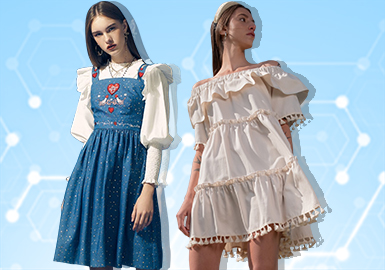 根據POP 11~12月用戶下載量TOP100女裝連衣裙數據分析,少淑女風格、簡歐中淑風格為月內重點關注風格。廓形上X型、A型成為主流關注廓形,收腰X型連衣裙是主流廓形之一。拼接與解構工藝關注度依然較高,荷葉邊在2020早春連衣裙上成為細節設計的關鍵。