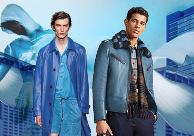 蔚海蓝--男装皮衣皮草色彩演变