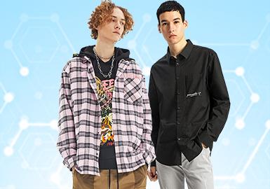 根据POP12月份用户下载量的TOP100男装衬衫数据分析,商务休闲类相较上月呈增长趋势,时尚休闲类有一定下降趋势,街头潮牌与上月持平,工装风异军突起,可持续关注。图案类还是以格纹和条纹为主,文字加以点缀,拼接和贴布工艺相比上月维持不变。商务衬衫有一定的增长,主要以印花和细节点缀,增加男士的品位和精致度。格纹衬衫也占据了一定的地位,工装衬衫的设计可持续关注。