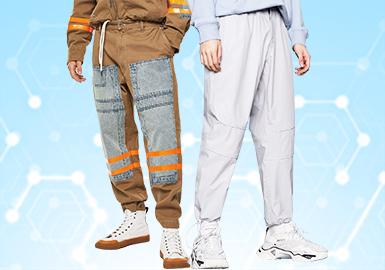 根据POP12月份用户下载量的TOP100男装中长裤数据分析,商务休闲风格呈增长趋势跃居12月份的最高占比风格,时尚休闲风格下降趋势明显,工装风和运动休闲类相较上月相对持平。廓形方面以直筒和收脚裤为主,工装裤的大肆回归,还将持续发力,工艺类还是以拼接为主,少量贴布设计点缀。