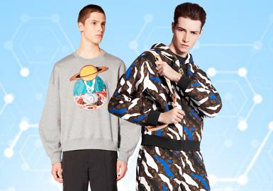 根据POP12月份用户下载量的TOP100男装卫衣数据分析,运动休闲风格占比最多30%,其次是时尚休闲以及街头潮牌风格款式。工艺类以拼接设计占比最多16%,而关于辅料细节类以撞色装饰条和趣味帽绳受到市场广泛欢迎。