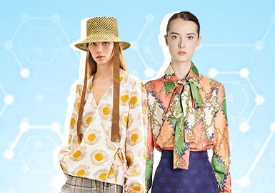 根据POP12月用户下载量TOP100女装衬衫数据分析,少淑女风格、简欧中淑风格为月内重点关注风格,另外成熟精英风格衬衫诚呈现出明显上升趋势;植物花卉仍是占比最高的图案。领部的系结工艺成为12月占比最高的工艺,除拼接外,抽褶也成为新的重点细节。