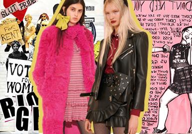 "Red Valentino2020早秋系列弥漫着一种少女叛逆的情绪。八十年代英国棍棒运动自由奔放、煽动性的魅力,与九十年代的Rio Grrrl美国地下女权运动重新定义的朋克美学相呼应。这个系列以前是皮埃保罗.皮乔利的主要时装和高级定制服装系列的甜美范畴,如今在轮廓和边缘上都有提升,把标志性的粉红换成了俏皮的霓虹粉色。提取了复古的酸洗牛仔元素与摇滚明星造型,让本季整体态度更有力量。 Piccioli在电子邮件中写道:""我认为我们发现了该品牌标志性浪漫主义的新表达,它更好地反映了当今女孩的自由奔放,强大的精神。"""