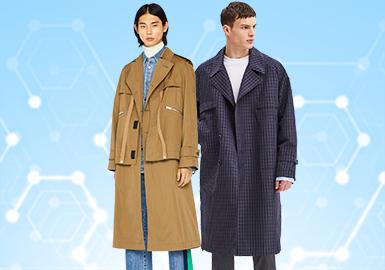 根據POP2月份用戶下載量的TOP100男裝風衣數據分析,時尚休閑風格趕超商務休閑風成為本月市場的主要關注對象,其次是運動休閑也有一定增長。本月圖案和工藝都沒有明顯突出,主要以裁剪和簡潔款為主,少量解構款成為亮點。商務款式也增加新的元素點,試圖躋身時尚界。細節的精彩程度不亞于款式,口哨、抽繩及防水拉鏈兼具實用性和功能性的裝飾依然是一大趨勢,壓膠工藝以撞色設計出現,可持續關注。更多的品牌開始注重內里的細節設計。