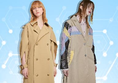 根据POP 2~3月用户下载量TOP100女装风衣数据分析,棉麻解构、运动休闲风格为月内主要关注风格。廓形上应用X型、H型成为主流廓形,A型斗篷款风衣关注度有明显提升。拼接、解构与褶裥工艺关注度依然较高,且根据四大时装周秀场最新资料显示,风琴百褶衣摆设计有明显提升,成为褶裥风衣细节设计的关键。