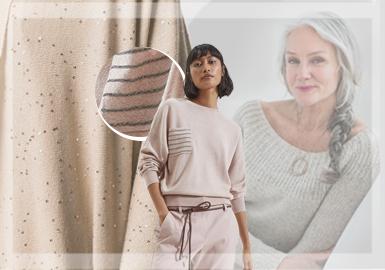 对于消费能力不弱的中老群体来说,对于服装款式和材质上的要求会更高。所以设计中老年的服装时,对于工艺手法的选择就会格外重要。中老年风格的毛衫款式,在细节上应该更加注重精美花型的开发和寻找新的辅料运用手法。