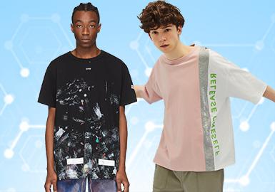 根據POP3月份用戶下載量的TOP100男裝T恤數據分析,時尚休閑類相較于上月有一定上升,且依然占據主要地位。街頭潮牌相比上月增長16%,而運動休閑類有一定下降。圖案類還是以文字和人物為主,文字占據T恤設計的重要部分,熒光黃綠色設計的文字、圖案和人物以黑白影印的設計出現,也將成為新一季的重點設計開發。工藝類,拼接設計手法增加了一定的變化,口袋也也多重形式出現,繡花元素也依附著印花工藝呈現更多元化的工藝設計方向。