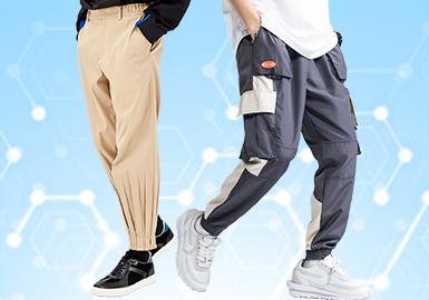 根据POP3月份用户下载量的TOP100男装中长裤数据分析,本月整体风格相较于上月都有一定的增长,但增长趋势缓慢,商务休闲和时尚休闲类均增长2%,运动休闲类追赶上工装风,成为市场关注度第二的风格大类。廓形类还是以直筒、束脚和工装设计为主,工艺类则以口袋和色块拼接设计占据。