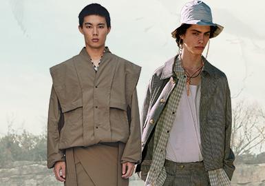 日本设计师品牌一直给人严谨、考究的固定印象。本季,结合时尚与自然的设计成为现今人们热力追捧的新时尚。温暖的大地色系和绿色系依然是主流色彩,款式的改变增加其时尚度。朴素的靛蓝面料通过纹理、拼贴等设计升级传统工艺,打造高级感。更环保、友好的生态染色,通过创新的褪色、做旧工艺打造讨喜的设计。单品和细节上也是以考究的设计,营造更个性的时尚单品。