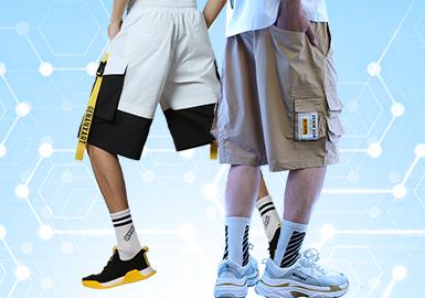 根据POP4月份用户下载量的TOP100男装短裤数据分析,时尚休闲风格占比31%,其次是运动休闲占比19%,工装风格呈增长趋势跃居4月份风格的前三名。廓形上面以五分短裤、四分短裤以及西装短裤为主,工艺以拼接为主,贴袋以跳跃色彩点缀,与夏日活力遥遥呼应。