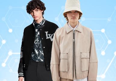 基于POP用户下载互动数据,综合评选出男装皮衣皮草单品TOP热榜。在近一个月榜单中,商务休闲和时尚休闲风格仍然为主要风格,时尚休闲比上月有所增加,商务休闲微小浮动下降,其次先锋潮牌占9%,夹克仍是最受欢迎的单品;在面料上,皮衣占比较多,受季节影响,皮毛一体、颗粒绒较少,整体占比和上月相比幅度不大。