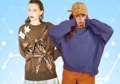 根据POP 5月用户下载量TOP100女装卫衣数据分析,简约中淑、时尚休闲风格为月内主要关注风格。案上应用人物、字母印花成为主流图案。拼接、镂空与刺绣工艺关注度依然较高,荷叶边装饰成为卫衣细节设计的关键。