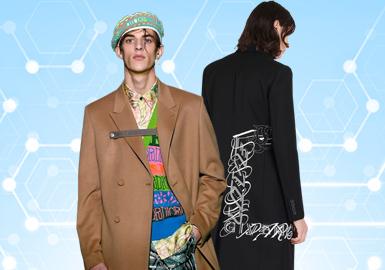 根据POP6月份用户下载量的TOP100男装大衣数据分析,商务休闲风格占比相对较高,整体款式风格倾向轻商务。款式从廓形及细节上的处理,更加凸显了男士对于品质的需求,结构上的变化较小,相比之下更注重的是工艺上的处理,辅料配件的选择恰如其分的丰富了款式的亮点。钉珠及点缀装饰的融合运用使精致的内涵溢于表面。