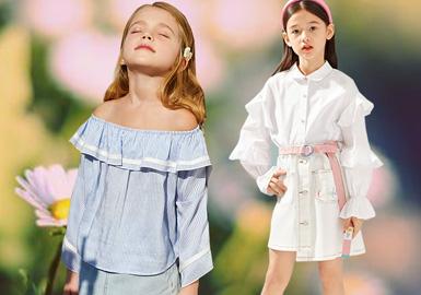 根据2020春夏女童五大标杆品牌(Balabala、、GXG.kids、little MO&Co.、Mini Peace、MQD)数据显示,春夏季衬衫款式主要以娃娃衫、开衫等廓形为主,印花上条纹、格纹、花卉元素是女童衬衫款式的重点,除此以外宽阔荷叶装饰、领部的细节绣花设计运用让款式更具时尚变化。