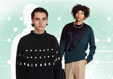 基于对7月份用户下载互动数据的分析,提炼出男装毛衫套衫TOP热榜。具有精炼细节设计的套衫在男装商务休闲风格中居主导地位,年轻活力的时尚休闲风格在本月占比有所下降。在图案元素运用中字母和色块相比于条纹成为本月关注热点,字母逐渐消散带来渐变的视觉效果更具新意。在工艺手法运用时,字母图案更加注重多工艺呈现手法,拉链、亮片在套衫中呈现装饰细节。本文将就核心设计元素进行款式推荐,带来这篇男装毛衫套衫TOP热榜分析。