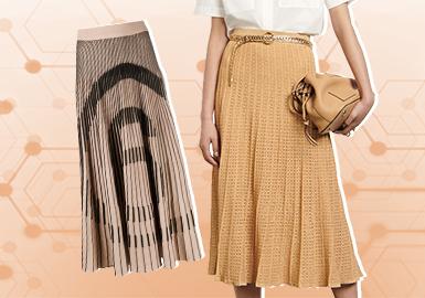 基于八月用户浏览搜索互动数据及专业市场调研分析,综合评选出女装毛衫半裙单品TOP热榜。简欧中淑风格的半裙最为热门,占比高达75%,而运动休闲风格呈现明显下降趋势;少淑女风格是需要持续关注的重点风格,受其影响,包臀裙、直筒裙的细节设计和颜色呈现年轻化趋势。撞色依旧是使用率最高的设计点;对线迹的表达依旧延续;不对称的裙摆设计也备受追捧。