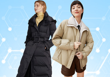 根据POP 8-9月用户下载量TOP100女装棉服/羽绒服数据分析,简约中淑、少淑女风格为本月内主要关注风格,时尚休闲仍然在本月持续保持火热。廓形以面包服和直身型为主,直身形的宽松廓形成为时尚休闲风的主打,体现出舒适且易穿搭的优点。镶边的工艺细节成为本月设计师主要关注点,在拼缝处将棉服/羽绒服呈现更精致的视觉感受。