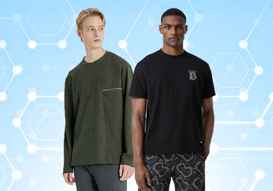 根据POP8月份用户下载量的TOP100男装T恤数据分析,时尚休闲风格占有较大的比重,街头潮牌风格有下降趋势。工艺方面刺绣的应用比重持续上升,本布切割拼接的占比在整个拼接中崭露头角。品牌标识的关注度居高不下,在原基础上创新LOGO的比重有所增加。