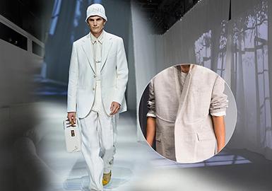 随着后疫情时代的到来,2021S/S四大国际时装周采用了全新的方式,以线上线下相结合的形式进行展示。尤为突出的就是男士西服与套装,在整个男装秀场上成为了一个十分重要的春夏单品款式,颇为流行。而在男士西服和套装中舒适天然且自带功效的自然亚麻与棉麻材质成为了本季关键性面料。极简的造型、中立的款式、舒适的材质,不但迎合了各类男装市场和风格品味的喜好,也引领了全球男士西服和套装的新一轮趋势方向,可以这样说无论是款式也好,还是面料材质,设计师们都纷纷在经典中透露出一丝熟悉感与全新的视觉感受。