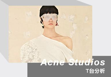 Acne Studios 是来自瑞典首都斯德哥尔摩的多元奢侈时尚品牌。创始人兼创意总监 Jonny Johansson 将自己对摄影、艺术、建筑和现代文化的浓厚兴趣,充分融入诠释在Acne Studios中。Jonny Johansson的标志性并排设计以及对细节的关注铸就了个系列的作品,设计师注重剪裁,大胆采用各种材料,并推出了定制开发面料。2021 /22秋冬女装系列以「幻境」与「现实」为蓝本,似梦境一般,以柔和和淡雅色彩开场,而后觉醒为清晰的黑白纯色,以歌颂我们在生命中重要仪式上的衣着色彩。品牌极具代表性的针织设计和田园风格在本季得到了更加精致、优雅的呈现,借由本质厚重且沉稳的粗线与碎花营造出相反的轻盈感,大量的破旧面料和材质混搭,尽显随性。