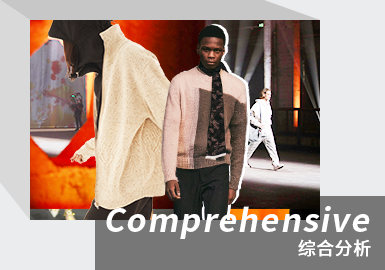 对21/22秋冬男装秀场毛衫款式进行数据分析:商务风格的毛衫款式占比最高,达54%,时尚休闲风格占比42%,毛衫款式整体呈年轻化趋势。在毛衫单品中,套衫占据最大比例,高达占56%,开衫次之,占26%。对毛衫重点工艺进行分析:针法和提花使主要运用工艺,共占比63%,值得注意的是烫金烫银工艺的运用在本季毛衫款式中的运用呈明显的上升趋势,占比达2%,需重点关注。本季毛衫款式更加注重舒适性和多场合搭配性,极致的舒适设计成为关键因素。因此,亲肤的纱线成为针织开发的重点,抓绒触感、长毛绒纱线带来的柔软感受尤为重要。在图案设计中,回归基础,将绞花、条纹、色块、民俗纹样等进行精简升级成为设计核心。
