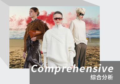 对21/22秋冬女装T台毛衫款式重点单品进行分析,套衫依旧占据最大比例,高达57%。开衫次之,占23%。在本季毛衫款式中连衣裙和套装呈明显上升趋势,需重点关注。连衣裙款式主要为中淑风格,呈现女性优雅气质。套装款式更加注重舒适性,居家休闲的套装适合多场景穿着,而运动风潮的兴起使运动套装更受重视。