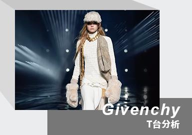 "Givenchy21/22秋冬系列发布与巴黎时体育场,地面故意设计成湿漉漉的水地,模特行走在水地上,水面的镜像和灯光相互呼应,营造出光怪陆离的感觉。Givenchy打破以往的设计取代优雅转向街头、暗黑、叛逆的风格;此次新系列的秀场上,你会发现Matthew邀请了许多说唱明星出镜,这也充分说明了他和当下的街头文化、嘻哈文化有着千丝万缕的关系,将个人最具代表性的金属、机能与高端街头元素注入 Givenchy,塑造有别以往的奢华暗黑时尚美学,亦成功吸引年轻世代族群的注目,譬如红遍全球的Billie EIlish也是他的客户群体。本季Givenchy 2021秋冬系列旨在从不同角度探讨""两个不同世界间恒定的张力""此主题。对于这个主题,Matthew M Williams是这样解释的:""我们希望可以借由这些时装和造型将现实生活中真实感与精准、优雅、高级感都展现出来。"""