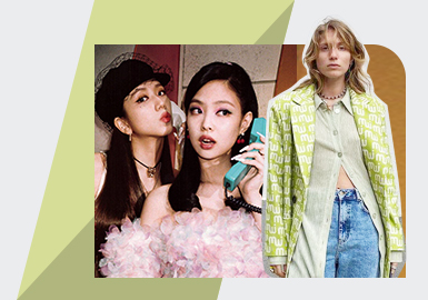 年轻人群穿搭风格的多样性,造就的风格混搭的穿搭法则;尤其是BLACKPINK、Jessica Wang、Laura T?nder穿搭更是将充满甜美和帅气的感受,通过甜美针织半裙和帅气的牛仔外套、字母西装与休闲牛仔、以及枚粉色和相同色系的长筒靴等穿搭组合,将少淑甜美的迷你款式和皮革、牛仔等单品混合,将大批量粉丝通过模仿来引领女性甜帅风格新方向。