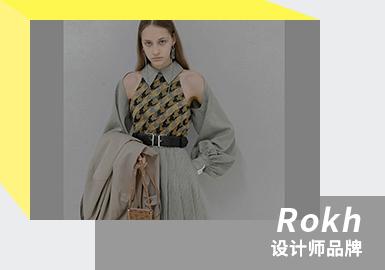 "Rokh是韩国独立设计师品牌,2016年由韩国设计师 Rok Hwang(毕业于中央圣马丁,还曾是老Celine时期Phoebe Philo麾下得力的左右手,亦曾是Chloe和Louis Vuitton的自由设计师,2018年还获得 LVMH 奖特别奖)在伦敦创建。Rokh品牌饱含颠覆传统经典的精神,看似半成品的解构时装背后,隐藏着一丝不苟、平整又高级的工艺与技术。他的设计是解构主义的狂欢,散而不乱,干净而富有力量。穿着他所设计的女孩, 总是远远的站在""潮流 ""之外,优雅、独立、不附世俗。Rok Hwang在试图创造一个永不过时的女性衣橱 , 男性化利落裁剪的线条下,透露的是精明干练的女性着装。"