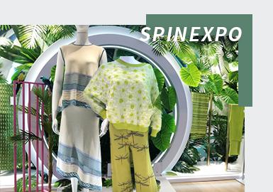 2022春夏上海SPINEXPO纱线展中除四大主题和重点纱线展区之外,各参展商也带来新季毛衫款式设计,本文将从重点廓形、纱线、针法、图案几个方面分析本季SPINEXPO纱线展中毛衫款式设计要点。
