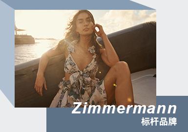 Zimmermann 2021春夏女装系列,设计师姐妹花Nicky Zimmermann与Simone Zimmermann从动植物中汲取灵感,运用独特的花卉造型和令人意想不到的色彩组合,打造具有澳大利亚独特风格的植物艺术。以透明薄蝉翼纱和夸张廓形演绎女性柔美风格,与阳刚硬朗的中性乳白色西服形成鲜明对比。精裁造型的风格尤为重要——简洁的造型是平衡这个系列的关键。成熟女性的气质、强烈的线条感、独特的色彩搭配以及精致复古的印花图案是品牌的精髓。美丽性感的轮廓线条,明确的品牌定位使它赢得了很多忠实的追随者。