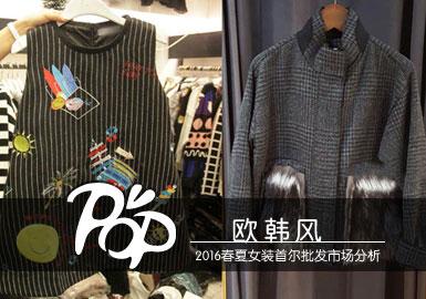 欧韩风款式中大多以仿大牌元素应用为主,结合韩版宽松的廓形,又给我们呈现新的视觉享受。毛绒口袋经典格纹都在欧韩风资料中有经典呈现。